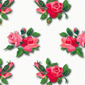 Roses on doted White