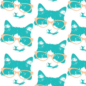 Aqua Cat in Peach Glasses