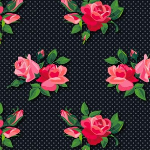 Roses on doted Black