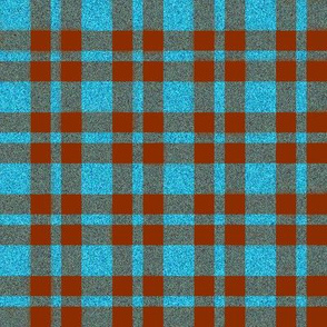 CD17 - Russet Apricot and Speckled Blue Tartan Plaid