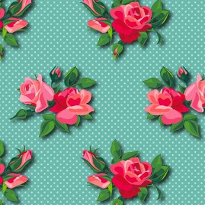 Roses on doted Aqua