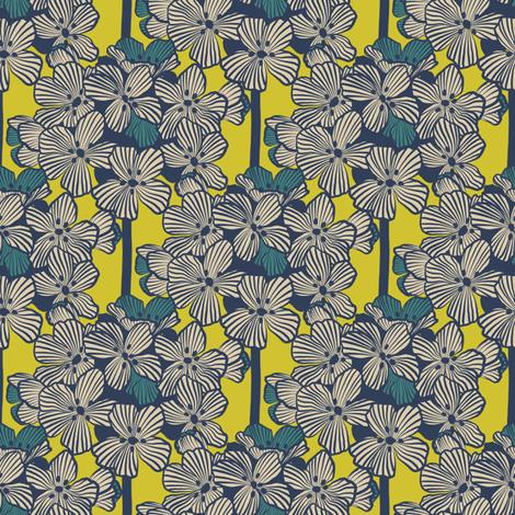 Atomic Century Geraniums - Beige on Atomic Lemon fabric by siya on Spoonflower - custom fabric