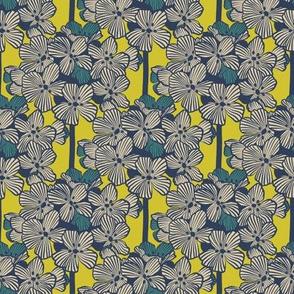 Atomic Century Geraniums - Beige on Atomic Lemon