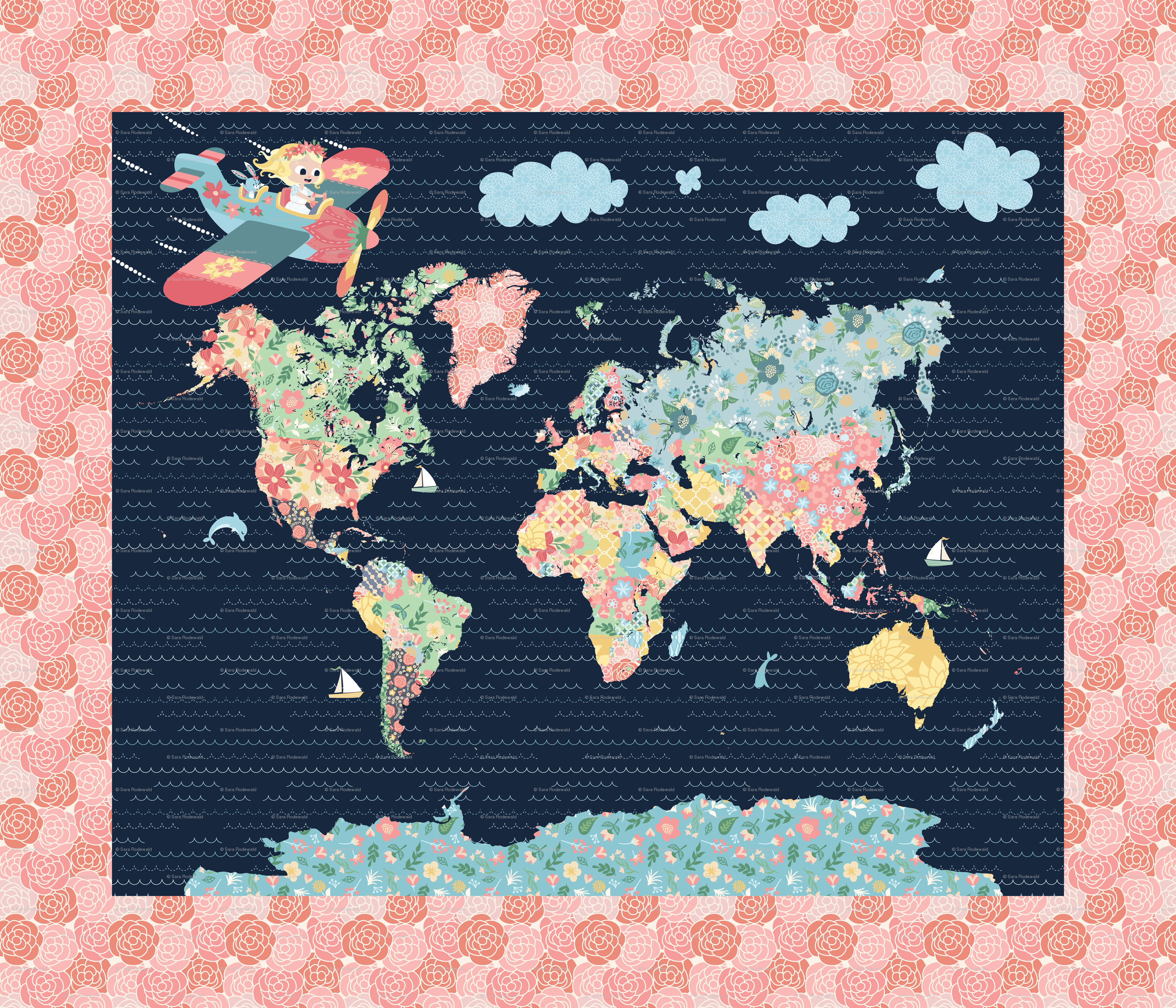 42x36 Nomi & Brave Travel the World Map Panel giftwrap ...