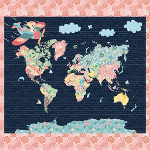 42x36 Nomi & Brave Travel the World Map Panel