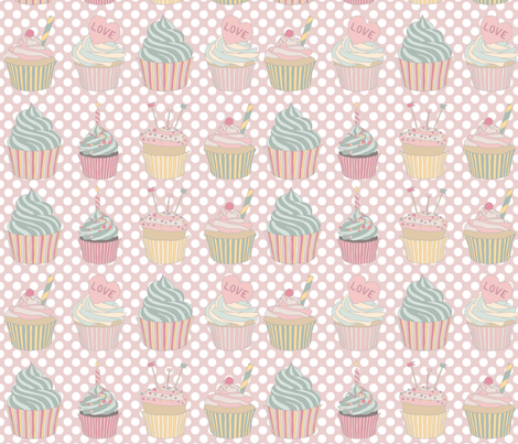 Charlie Cupcakes: Pink fabric by dawn_leblanc on Spoonflower - custom fabric