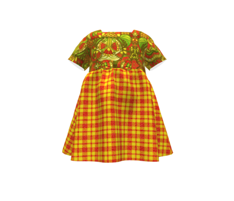 CD43 -  Speckled Orange and Vibrant Yellow Tartan Plaid