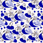 Blue and White Abstract Swans