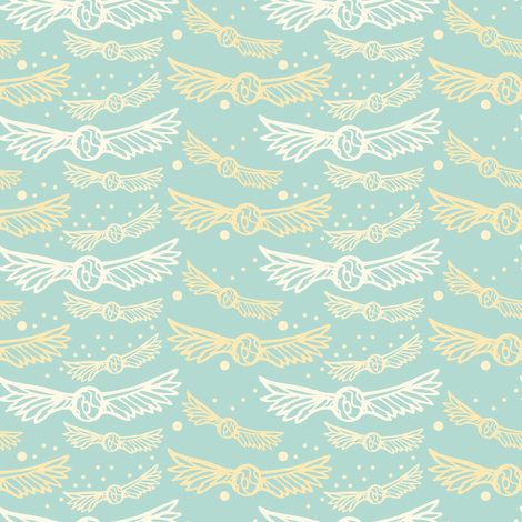 Snitches and Stars, in Mint fabric by katie_hayes on Spoonflower - custom fabric