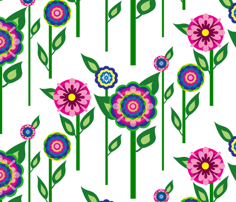 BC&TDS Folk Flowers on Stems fabric by bluecordandtassel on Spoonflower - custom fabric