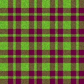 CD19 - Burgundy and Speckled Lime Green Plaid