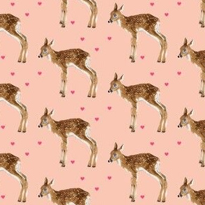 Lovely Fawn on Pink + Pink Hearts - Smaller Scale