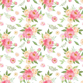 Peach and Pink Peony Flowers Pattern