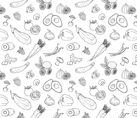 Fruits and Veggies in Black and White fabric by veronikanagydesigns on Spoonflower - custom fabric