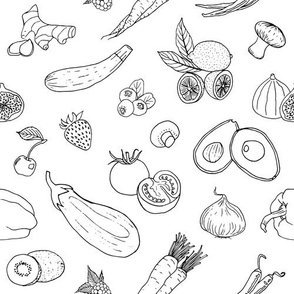 Fruits and Veggies in Black and White