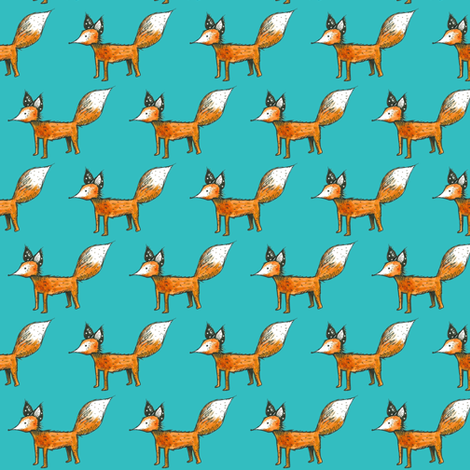 Fox on Ocean Blue fabric by taraput on Spoonflower - custom fabric