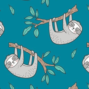 Sloth Sloths on Tree Branch with Leaves on Teal
