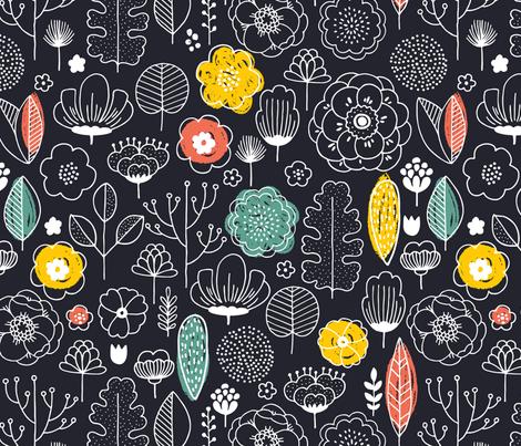 Scandi flowers fabric by adehoidar on Spoonflower - custom fabric
