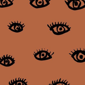 Watch me watching you pop minimal trend eyes eye lashes raw drawing ink copper brown
