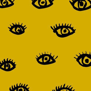 Watch me watching you pop minimal trend eyes eye lashes raw drawing ink ochre yellow