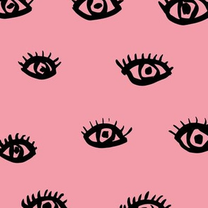 Watch me watching you pop minimal trend eyes eye lashes raw drawing ink pink summer