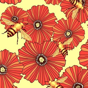 poppies and bees in soft honey