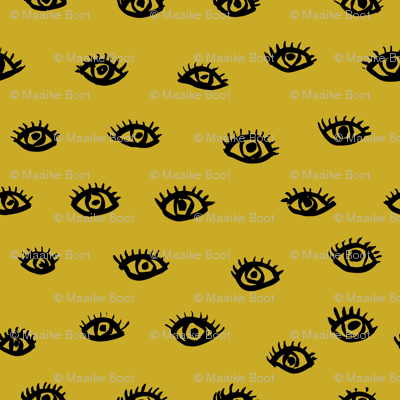 Watch me watching you pop minimal trend eyes eye lashes raw drawing ink ochre yellow SMALL