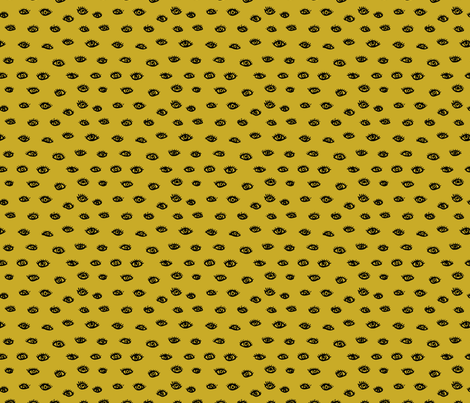 Watch me watching you pop minimal trend eyes eye lashes raw drawing ink ochre yellow SMALL fabric by littlesmilemakers on Spoonflower - custom fabric