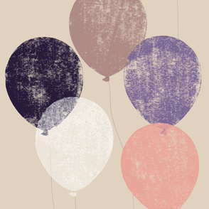 jumbo scale balloons puce, lilac, pink, aubergine