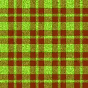 CD46 - Speckled  Neon Green  and Rusty Brown Plaid