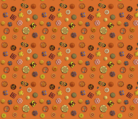 Buttons! Orange Passementerie fabric by ginab-silkworks on Spoonflower - custom fabric