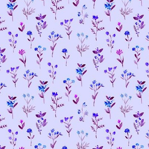 Sweet meadow on blue || watercolor floral pattern