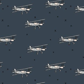 Little pilot airplane illustration aviator winter theme boys stone blue