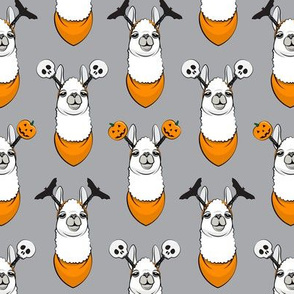 halloween loving llamas w/ headbands - grey and orange