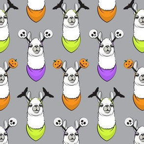 halloween loving llamas w/ headbands on grey