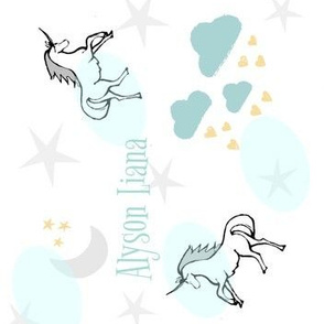 Magical Unicorn 7 VERTICAL - gray mint sprinkle PERSONALIZED for Alyson Liana