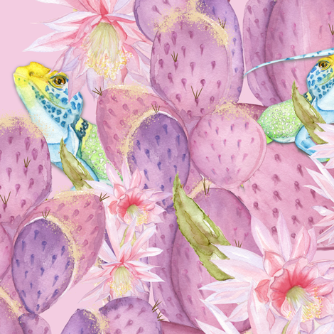 desert in bloom Melanio_pink fabric by melanio on Spoonflower - custom fabric