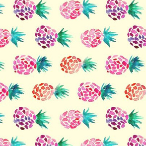 Pink pinapples on cream horizontal || watercolor pattern for nursery, baby girl