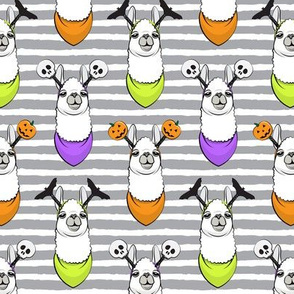 halloween loving llamas w/ headbands - grey stripes