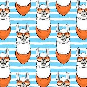 halloween loving llamas - blue stripes