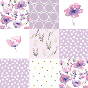 purple floral patchwork watercolor h