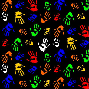 Pattern. Sketch of palm prints of a person. Colorful .Black background.