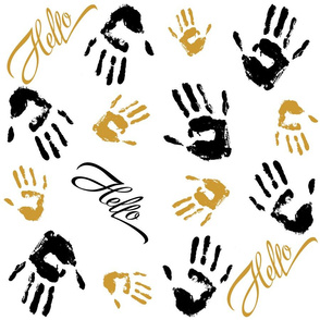 Pattern. Sketch of palm prints of a person and the phrase Hello. Ornament . Decor for fabric and wrapping paper.