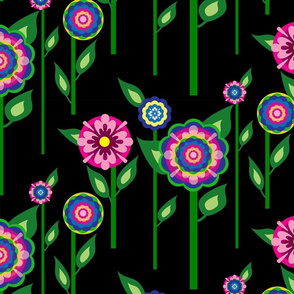 BC&TDS Folk Flowers on Stems Black
