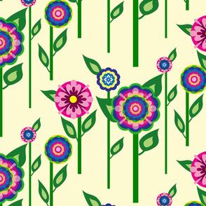 BC&TDS Folk Flowers on Stems on Cream
