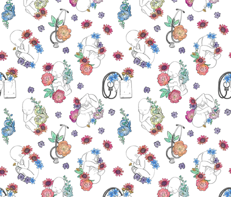 Floral Midwifery and Obstetrics fabric by landpenguin on Spoonflower - custom fabric