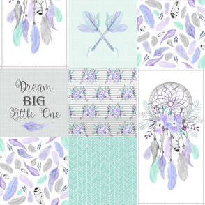 Dream Catcher Patchwork Quilt Top – Wholecloth for Girls Purple Lavender Grey Mint Feathers Nursery Blanket Baby Bedding