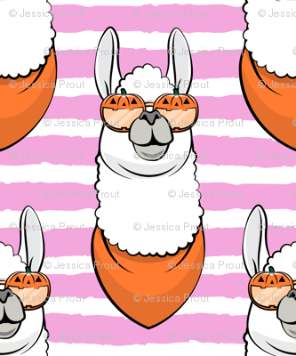 halloween loving llamas - pink stripes