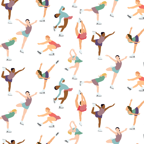Small Scale Figure Skating on White fabric by landpenguin on Spoonflower - custom fabric