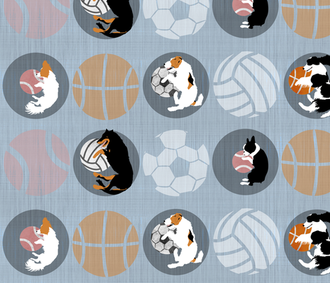 XL Sports Dog favorite round things - slate fabric by rusticcorgi on Spoonflower - custom fabric
